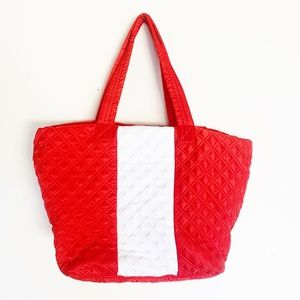 Sondra Roberts Quilted Tote Squared Large Red